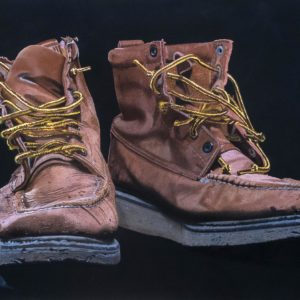 "Work Boots, watercolor and pastel, 38"" x 22"", by Ron Doyle"