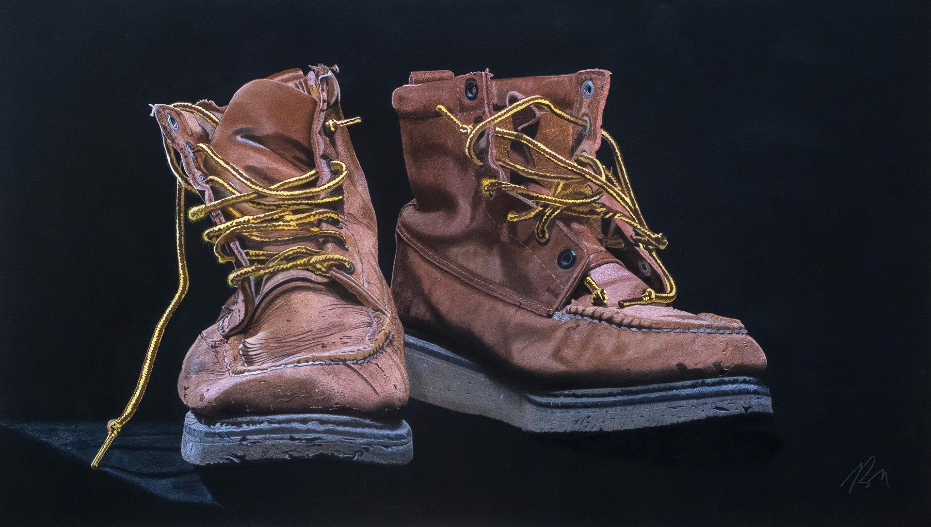 Work Boots, watercolor and pastel, 38